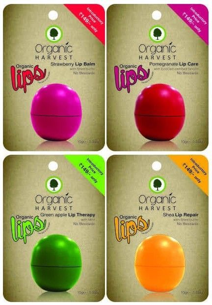 ORGANIC HARVEST Lip Balm Nourishes dry and chapped lips 10 grams each