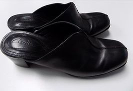 Open Block Shoes 7 CLARKS Black Leather Shoes Slip 5 Medium Back Size B3353 On Y6a6w5