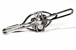 Silver Bee on Vintage Tie Clip- Mens Repurposed Antique Tie Bar Money Clip - $49.99