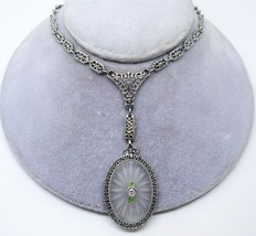 14k Deco Genuine Natural Rock Crystal Necklace with Filigree Chain (#3433) - $1,218.38