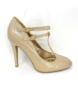 Qupid Womens Gold Glitter Sparkle Double Buckle Strap Stiletto Heels, Si... - $23.13