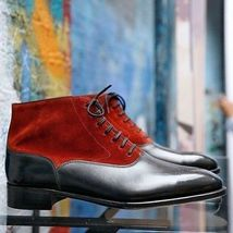 Handmade Men's Red Suede Black Leather Chukka Lace Up Boots image 3