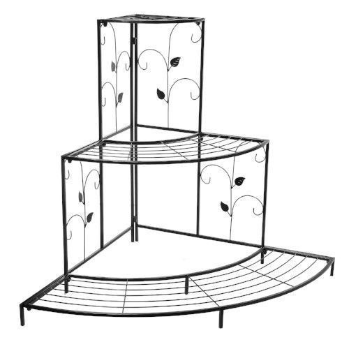 Corner Planter Stand Metal Etagere Pots Shelves Shelf Patio Outdoor Tiers Garden