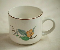 "Woodhill Citation 3-1/8"" Flat Coffee Cup Mug Floral Rim Smooth Edge Brow... - $9.89"