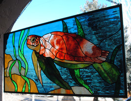 "Stained Glass Window Sea Turtle 36"" X 18"" - $343.00"