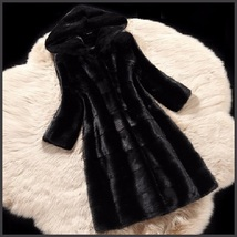Full Plus Sized Unisex Hooded Long Black Sleek Imitation Mink Faux Fur  image 2