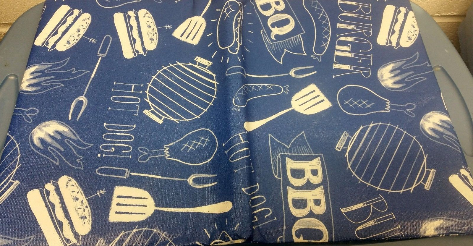 "Primary image for FLANNEL BACK VINYL TABLECLOTH 52"" x 104"" (8-10 people) GRILL & BBQ on BLUE by AP"