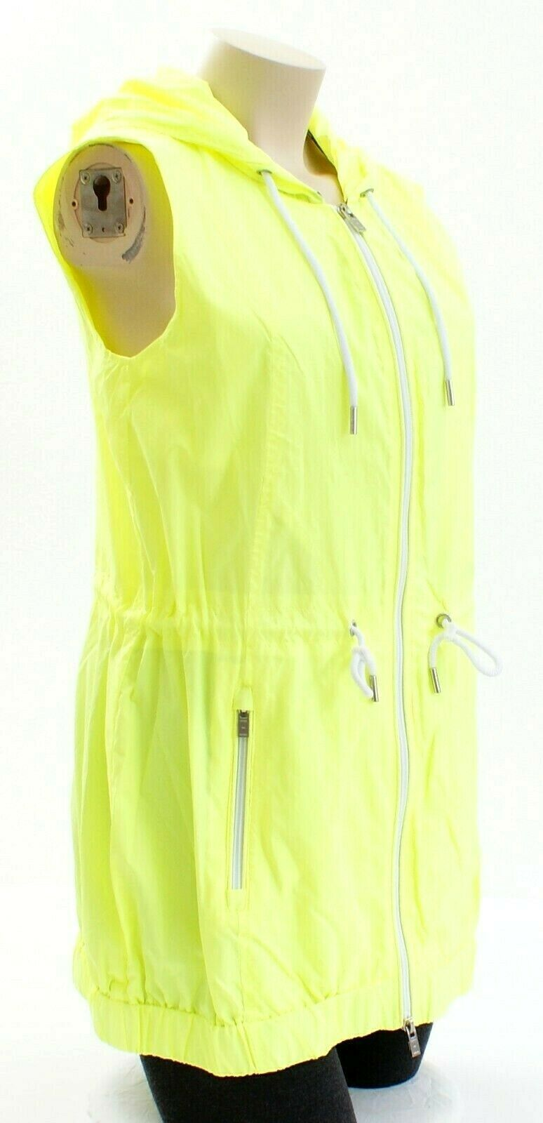 Tommy Hilfiger Yellow Zip Front Drawstring Hooded Sport Vest Women's Packable image 4