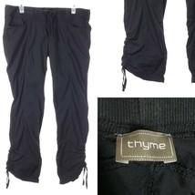THYME MATERNITY Black Lightweight Pants Women's Large Elastic Waist Ruch... - $24.70