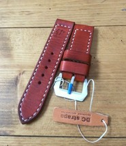 Handmade brown 24mm leather watch strap with GPF buckle fits panerai - $85.00