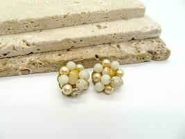 Vintage Japan Cream White Tan Bead Cluster Flower Clip On Earrings D57 - $12.99