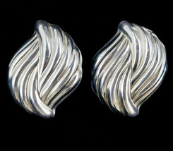"Vintage Sterling Taxco Mexico Puffy Swirl Modernist Clip On Earrings 2"" - $116.99"