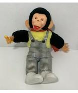 Gerber Atlanta Novelty vintage plush monkey chimp striped overalls rubbe... - $98.99