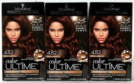 3 Boxes Schwarzkopf Color Ultime 4.82 Dark Mahogany Brown Permanent Hair Dye - $32.99