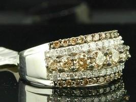1.58 Ct Round Champagne Diamond Half Eternity Wedding Band 14K White Gol... - $86.89