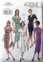 Vogue Pattern 7722 Dress 8-10-12 Misses 5 Styles Uncut Easy - $4.70