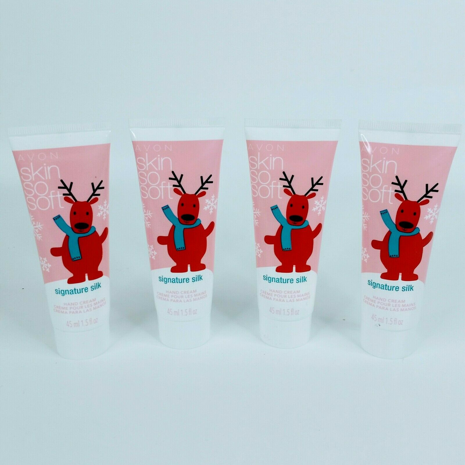 4X Avon Hand Cream Mini 1.5 oz Skin So Soft Signature Silk Formula Reindeer