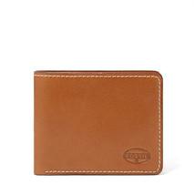 Neuf Fossil Cuir Vaughn à Deux Volets Portefeuille Carte de Crédit Cognac Marron - $39.53