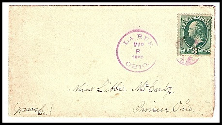 Primary image for 1880 La Rue, OH Discontinued/Defunct Post Office (DPO) Postal Cover