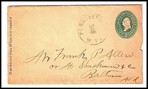 Primary image for 1891 Purgitsville, WV Vintage Post Office Postal Cover