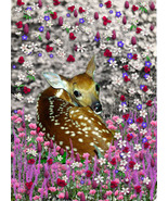 Bambi in Fllowers II - Art Card, ACEO - $7.00