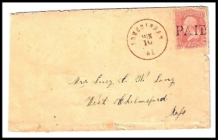 Primary image for c1861 Bowdoinham, ME Vintage Post Office Postal Cover