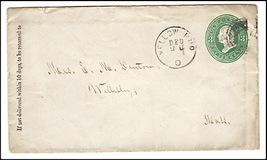 c1870 Yellow Bud, OH Discontinued/Defunct Post Office (DPO) Postal Cover  - $9.95