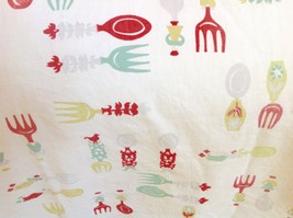 Vintage Single Panel Kitchen Curtain Cotton Spoon Fork Pattern Red White... - $10.84
