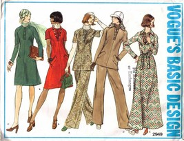 Vintage 1970's Vogue Pattern 2949-v - Misses DRESS, TUNIC & PANTS Size 1... - $12.00