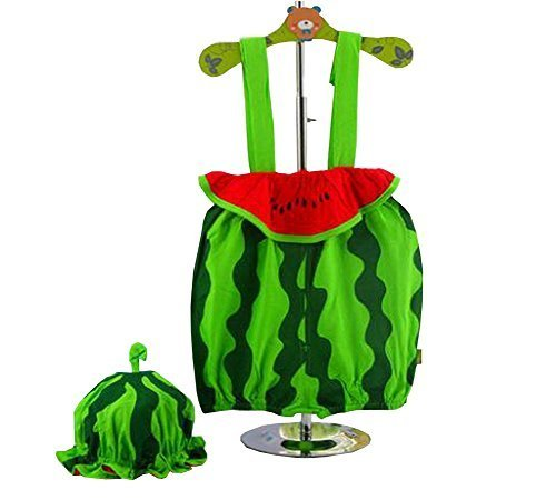 Cute Baby Overall Lovely Watermelon Overall A Suit of Overall And Hat Green