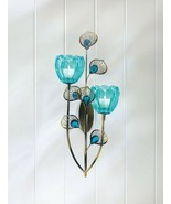 Turquoise Wall Sconce w/ Duo Flower Candle Cups on Golden Metal Peacock ... - $29.95