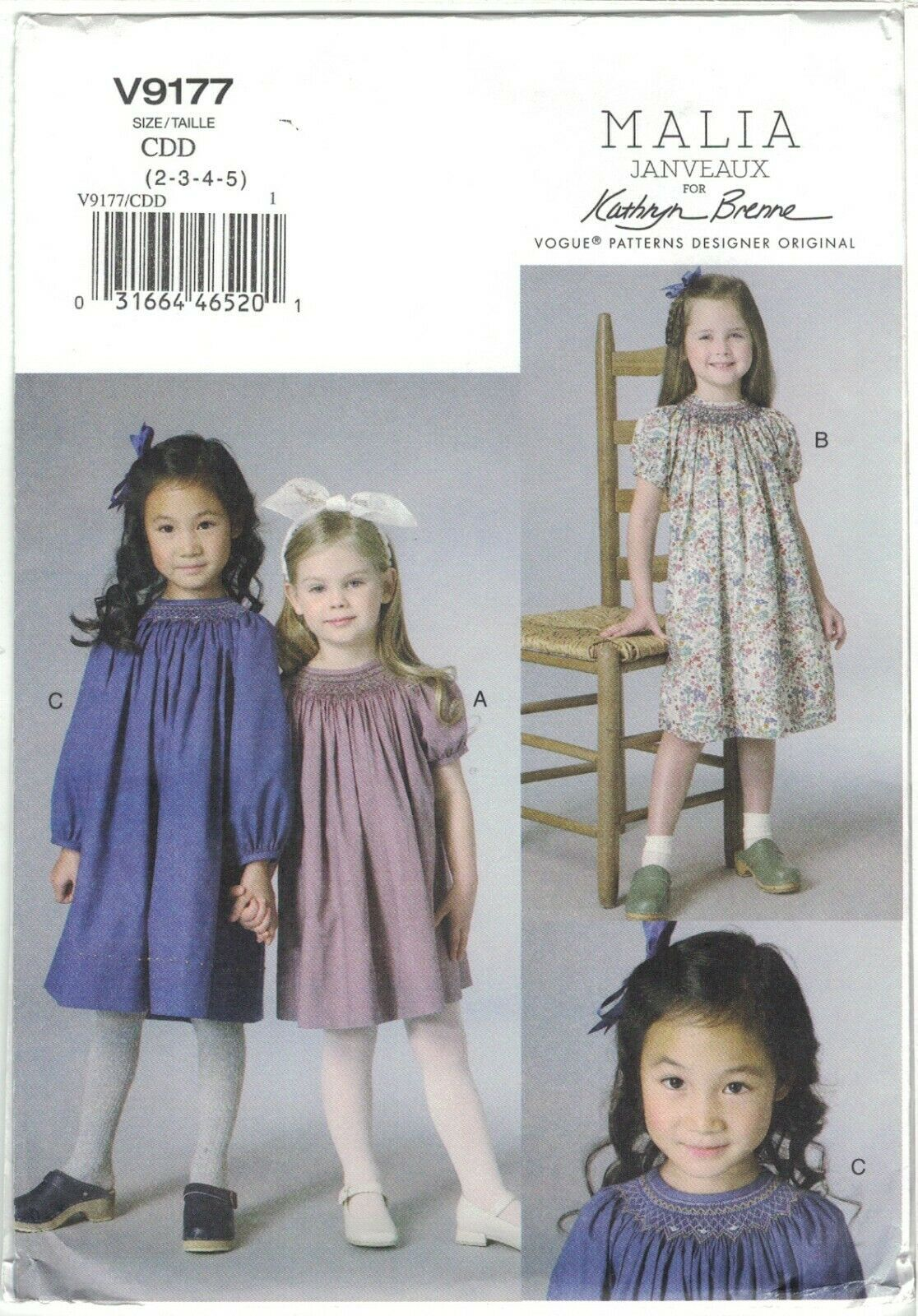 Primary image for Vogue 9177 Malia Janveaux x Kathryn Brenne Children's Girl's Dress Smocking UC