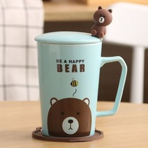 Be a Happy Bear Blue Mugs Milk Tea Cup Drinkware + Cover Lid + Spoon + S... - $34.95