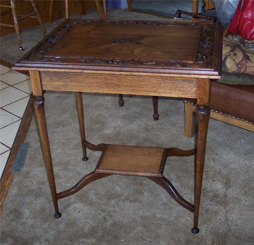 Oak Carved Parlor Table/Lamp Table