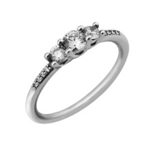 Fairytale Sparkle Wedding Rings 100% 925 Sterling Silver Clear CZ Silver Rings - $19.10