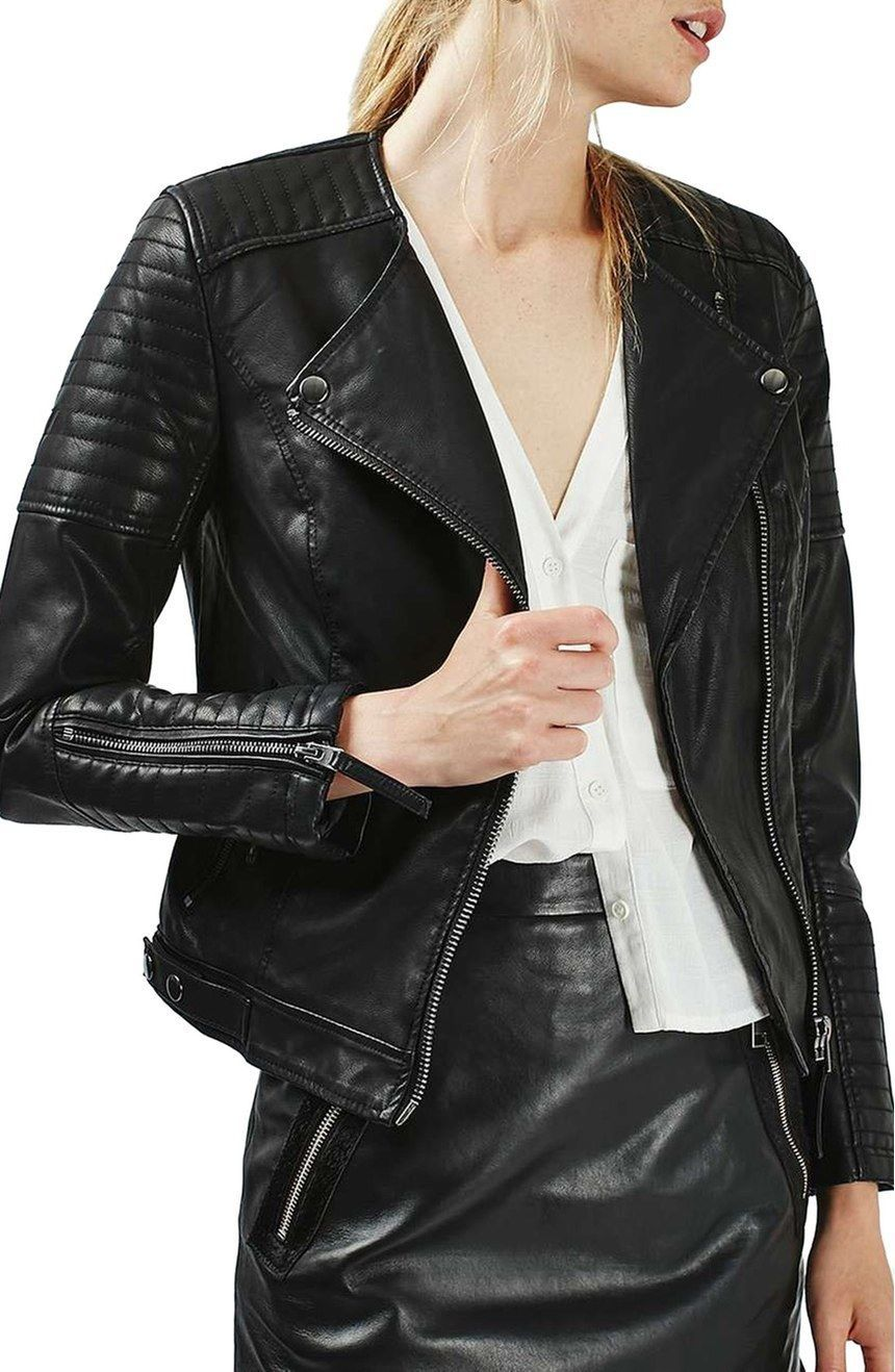 WOMEN BIKER MOTORCYCLE CASUAL SLIM FIT RIDER REAL GENUINE  LEATHER JACKET-A71