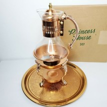 Corning Heat Proof Glass Carafe Pitcher, Stand Copper Filigree & Princess House - $54.99