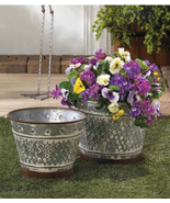 Galvanized Metal Planter Set with Brown Trim Rustic Weathered Chic Country  - $58.89
