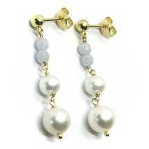 18K YELLOW GOLD PENDANT EARRINGS, WITH FW PEARLS AND CHALCEDONY image 1