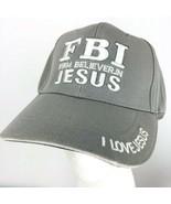 FBI Firm Believer in JESUS Religion Baseball Cap Christian Hat Gray Embr... - $25.73