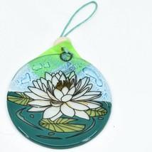 White Lotus Flower Fused Art Glass Ornament Sun Catcher Handmade Ecuador