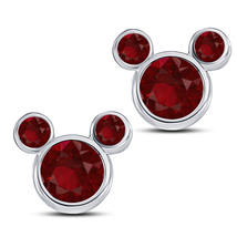 Round Cut Pink Sapphire Mickey Mouse Stud Earrings White Gold Plated 925 Silver - $43.60