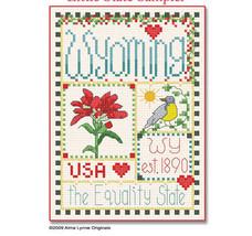 Wyoming Little State Sampler cross stitch chart Alma Lynne Originals - $6.50