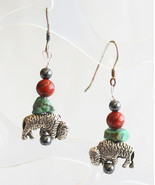 Judy Strobel Magical Buffalo Bison Turquoise & Poppy Jasper Earrings - $19.95