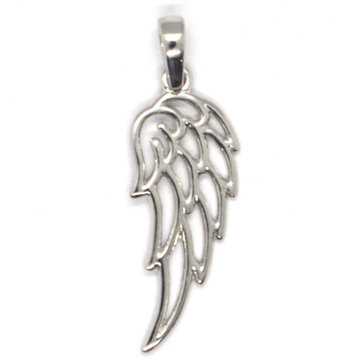 SOLID 18K WHITE GOLD PENDANT MEDAL, STYLIZED ANGEL WING, WINGS, MADE IN ITALY
