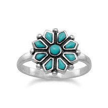 .925 Sterling Silver Reconstituted Turquoise Flower Women's Ring - $42.46