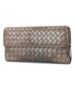 Auth BOTTEGA VENETA Brown Woven Leather Long Zippered Wallet Coin Purse ... - $149.00