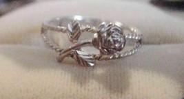 Estate~ Vintage Rose stalk w/ leaves Openwork Sterling Silver 925 Ring 8.5 - $39.95