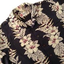 Hilo Hattie Hawaiian Aloha Shirt Beige Black Hibiscus Plumeria Monstera ... - $34.60