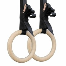 Gymnastic Rings Double Coated Birch Wood Pull Up Adjustable Straps Fitne... - $53.89+